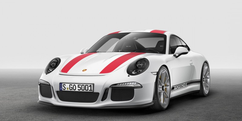 Porsche 911 R Frontansicht mit Speed Stripes